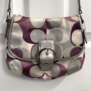 Coach Saddle bag purple and silver crossbody purse